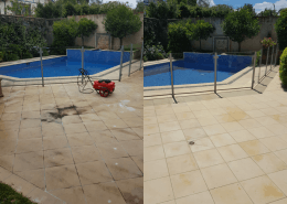 pool cleaning, pavers before/after